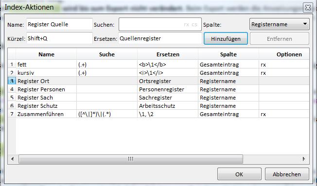 """Screenshot des Fensters """"Index-Aktionen"""" mit einigen Beispielen."""