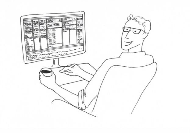 Zeichnung eines lächelnden jungen Mannes, der an einem Computer die Indexing-Software Index-Manager bedient und in der linken Hand eine Tasse Kaffee hält.