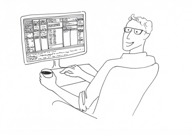 Drawing of a smiling young man sitting in front of a Computer with Indexing-Software Index-Manager and holding a cup of coffee in the left hand.