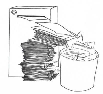 Zeichnung eines Druckers, der viele Blätter Papier ausgibt. Es ist so viel Papier, dass viele der Blätter in einen Papierkorb fallen.